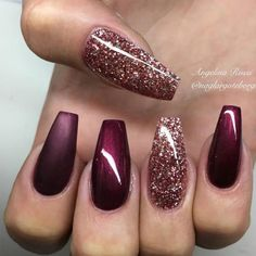 Popular Nail Designs in Burgundy Colors picture 1