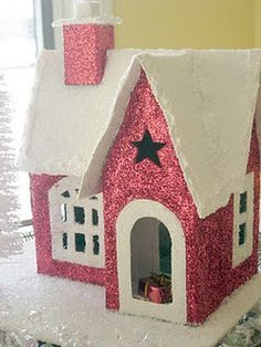Glitter houses tutorial and links to many style/shapes of houses.