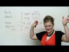 Having trouble understanding grammar terms? Listen to this funny lady describe ENGLISH grammar to German kids (in English). English Speaking Skills, Learning English Online, German Language Learning, Teaching English, Language Arts, Basic Grammar, German Grammar, Grammar Lessons, Nouns And Adjectives