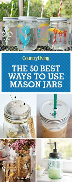65 Brilliant Ways to Use Mason Jars in Your Home. 50 Best Ways to Use Mason Jars. Simple meets stylish with these easy DIY projects. Chalk Paint Mason Jars, Painted Mason Jars, Mason Jar Projects, Mason Jar Crafts, Crafts With Jars, Mason Jars Decorados, Diy Home Decor Projects, Diy Projects To Try, Craft Projects