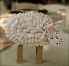 Cotton Swab Lambs. Made these for my baby shower