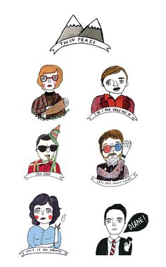twin peaks illustration. david lynch. quotes. characters. art.