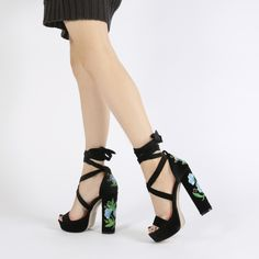 Iona Embroidered Lace Up Platforms in Black Velvet