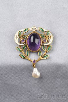 18kt Gold, Amethyst, Plique-a-jour Enamel, and Enamel Brooch | Sale Number 2529B, Lot Number 452 | Skinner Auctioneers