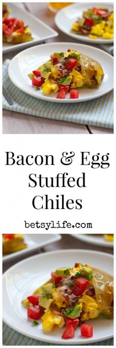 Bacon and Egg Stuffed Chiles. The best breakfast recipe ever! | Betsyilfe.com