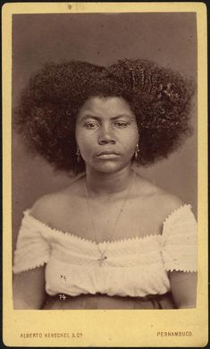 "Portrait of a ""Cafuza"" (a person of African & Amerindian parentage) woman, Pernambuco, Brazil, by Alberto Herschel, ca. 1869. Her face is now on the label of Cafuza Imperial India Black Ale, a Brazilian beer brand: http://www.brejas.com.br/cerveja/brasil/cafuza-imperial-india-black-ale"