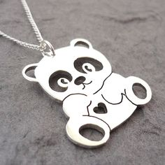 Panda Heart Handmade Sterling Silver Pendant on by starbrightgirl