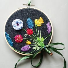 Spring bouquet embroidery, floral embroidery, botanical embroidery, easter flowers embroidery, denim embroidery by Stitchingnoob on Etsy