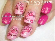 Pink Floral Nails  #cherryblossom #pinkpolish #nailart - bellashoot.com