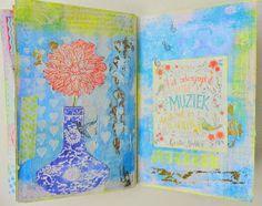 """""""allemaal kleurtjes mijn verzameling pastel servies Petrus Regout en smashbook avontuur.: in de tuin en mijn art journal"""