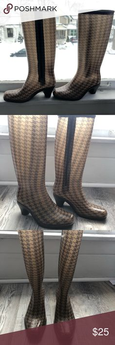 Heeled rain boots Brown and tan heeled Dav rain boots Shoes Winter & Rain Boots Heeled Rain Boots, Shoe Boots, Shoes, Tan Heels, Brown Boots, Winter Rain, Best Deals, Closet, Things To Sell