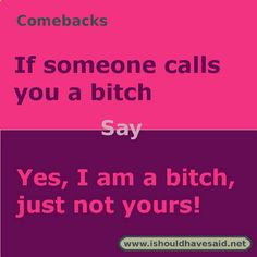 Use this comeback if someone calls you a bitch. Check out our top ten comeback lists www.ishouldhavesaid.net