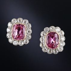 Pink Sapphire and Diamond Earrings - 20-1-4863 - Lang Antiques