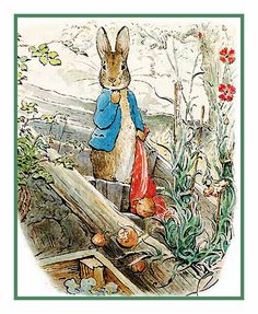 Peter Rabbit carrying onions in Red Handkerchief by Beatrix Potter Counted Cross Stitch Chart / Pattern