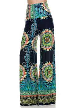 New Women Floral Paisley Print Trouser Wide Leg Baggy Flared Summer Pant Palazzo