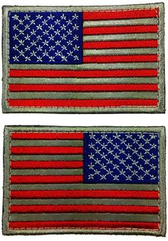 """[2 Set Count] Custom, Cool & Awesome {3"""" x 2"""" Inches} Small Rectangle Military Armed Forces Left & Right Facing Stars and Stripes American Flag Pair (Tactical Type) Velcro Patch """"Red, White & Blue"""""""