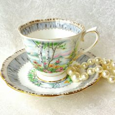 ROYAL ALBERT Silver Birch  Vintage Tea Cup and Saucer/ trees/ woodland teacup