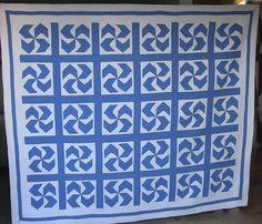 x cornflower blue pinwheel design quilt! Blue Color Schemes, Pinwheels, Hand Stitching, Vintage Antiques, Quilt Patterns, Blue And White, Windmills, Quilts, 1920s