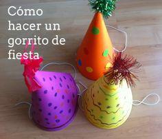 Cómo hacer gorritos para fiestas y cumpleaños: http://manualidades.euroresidentes.com/2014/01/como-hacer-gorritos-para-fiestas-y.html
