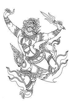 Cambodian Tattoo, Khmer Tattoo, Thai Tattoo, Body Art Tattoos, Tattoo Drawings, Hanuman Tattoo, Flower Of Life Tattoo, Neck Tattoos Women, Sak Yant Tattoo