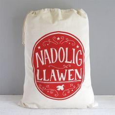 A beautiful hand printed 'Nadolig Llawen' christmas sack. Nadolig Llawen is Welsh for Merry Christmas! This 'Nadolig Llawen' christmas stocking is perfect for filling to the brim with wonderfull Christmas presents. Will look fab sitting next to the Chr. Christmas Canvas, Kids Christmas, Handmade Christmas, Christmas Crafts, Christmas Decorations, Christmas Stuff, Christmas Ornaments, Welsh Gifts, Merry Chistmas