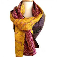 Vintage sari ikat scarf - amethyst purple and citrus yellow