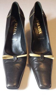 f25a6a016f34 AUTH PRADA Black Leather Bow Pumps Heels Sz 40 US 9.5-10  700  PRADA   PumpsClassics