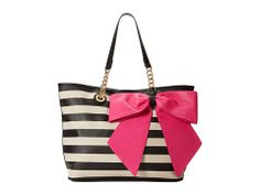 Betsey Johnson Bow-Tas-Tic Tote Black Stripe Large - Zappos.com Free Shipping BOTH Ways