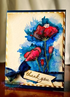 The Damsel of Distressed Cards: A Watercolored Poppy Card