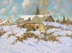 Alexander Kremer, Russian, Russian Village, oil on canvas Winter Landscape, Landscape Art, Landscape Paintings, Landscapes, Russian Painting, Russian Art, Winter Painting, Winter Art, Great Paintings