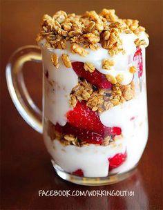 Strawberries, Yogurt, and Granola. Full cream yogurt is better because it has less sugar.