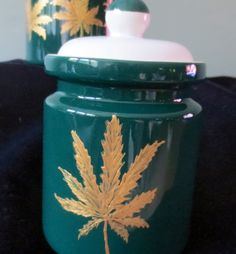 Spring Sale !  Medical Marijuana Storage Jar Canister Ceramic With Lid  Hand Painted Green and Gold by CCsCrafts on Etsy