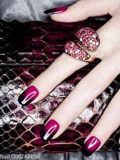 Black VS Red Gradient Nail Art Design ^_^