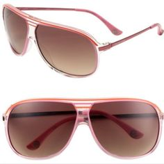 Michael Kors aviator sunglasses. Michael Kors. Aviator sunglasses. Pink & orange plastic frames. Brown gradient lens. 65 mm lens. Great condition & come with case! Michael Kors Accessories Sunglasses