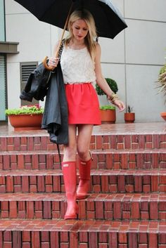 """pink hunter boots, pink skirt, white blouse. """"The Mia"""""""