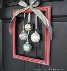 s raise your home s curb appeal with these 15 ornament wreaths, christmas decorations, crafts, curb appeal, home decor, seasonal holiday decor, wreaths, This one that is actually a frame