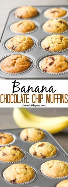 Banana Chocolate Chip Muffins: There is no better combination than banana and chocolate! These muffins make the perfect breakfast, snack or dessert Köstliche Desserts, Delicious Desserts, Dessert Recipes, Yummy Food, Delicious Chocolate, Breakfast Recipes, Breakfast Ideas, Cake Recipes, Banana Chocolate Chip Muffins