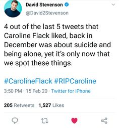 4 out of the last 5 tweets that Caroline Flack liked, back in December was about suicide and being alone, yet it's only now that we spot these things.  #CarolineFlack #RIPCaroline Caroline Flack, You Matter, Real Quotes, December, Being Real Quotes, December Daily