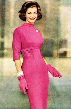 Inspiration: R&K Originals 1958 pink sheath dress day shelf bust sleeves gloves pink fashions style vintage color photo print ad model magazine vintage fashion Moda Vintage, Vintage Mode, Vintage Pink, Vintage Style, Vintage Cars, Fifties Fashion, Retro Fashion, Vintage Fashion, Womens Fashion