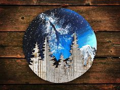 Paradise Nature Painting / Mountain Art / Original Acrylic Art / Woodworking / Pacific Northwest / Wood / Starry Painting