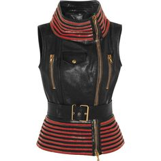 Alexander McQueen Zip-trimmed leather gilet ($6,520) ❤ liked on Polyvore featuring outerwear, vests, jackets, tops, vest, vests / gilets, black, vests and gilets, leather waistcoat and zipper vest