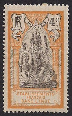 French India, 4 centimes, 1914 : : Lord Brahma seated upon a swan. Rare Stamps, Old Stamps, Vintage Stamps, French India, Postage Stamp Design, Postage Stamp Collection, Human Art, Tampons, Stamp Collecting