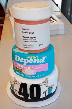 40th birthday old person cake