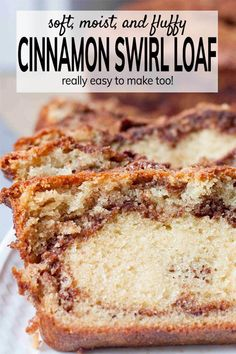 cinnamon bread Simple and easy Cinnamon Loaf Bread recipe - no buttermilk needed and stays moist and delicious for several days! This makes a tasty, quick bite for breakfast or when hunger strikes any time of the day.