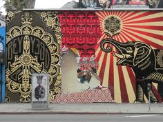 Shepard Fairey Mural, De la Barracuda exterior, Melrose Avenue, in Los Angeles (USA, 2010)