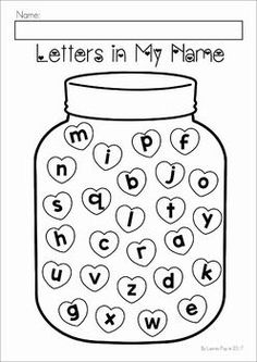 Valentine's Day Preschool No Prep Worksheets and Activities. Letters in my name.