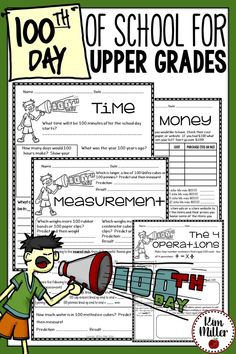 100th Day of School for Upper Grades - perfect for third grade, fourth grade, and fifth grade. 100th day activities for the classroom.