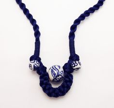 Blue Flower Beads Pendant Traditional Asian Chinese Knot Handmade Necklace by TrendyOriental on Etsy