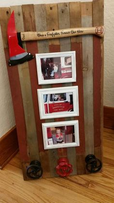 How beautiful is this display?  Customer made this for her dad's retirement incorporating our medium size personalized axe. Personaized firefighter axe. - http://ift.tt/1HQJd81