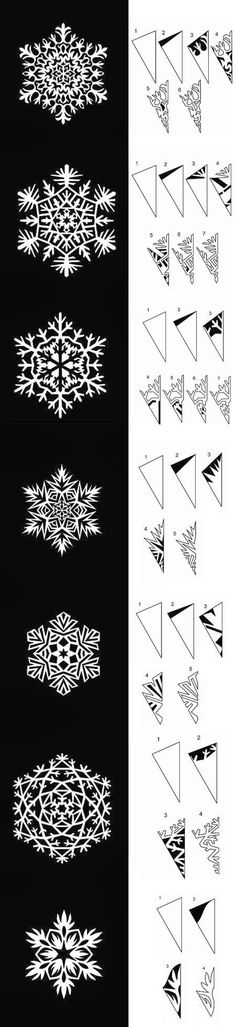 DIY Paper Snowflakes Templates DIY Paper Snowflakes Templates by diyforever More Mehr Kirigami, Paper Snowflake Template, Paper Snowflakes, Christmas Snowflakes, Paper Snowflake Patterns, Origami Templates, Box Templates, Diy And Crafts, Crafts For Kids